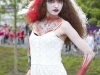 Euro 2012. Warsaw, Poland. 16th June 2012.  Polish female fan outside the National Stadium in Warsaw.  Model  : Julia Joanna Jarmoszewicz,  Body-painting, hair, fashion designer: Ann.Es (Anna Dominika Strzępek) ©Stan Kujawa. All Rights Reserved. 2012.  07815 152006 stan.pix@virgin.net www.stankujawa.co.uk