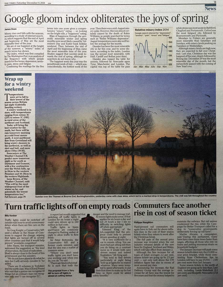 Published in The Times 06.12.14. River Thames Sunrise at Bourne End, Buckinghamshire. 5/12/2014. Photo ©Stan Kujawa. Image may not be used without the express written permission of the author. stan.pix@virgin.net www.stankujawa.co.uk.