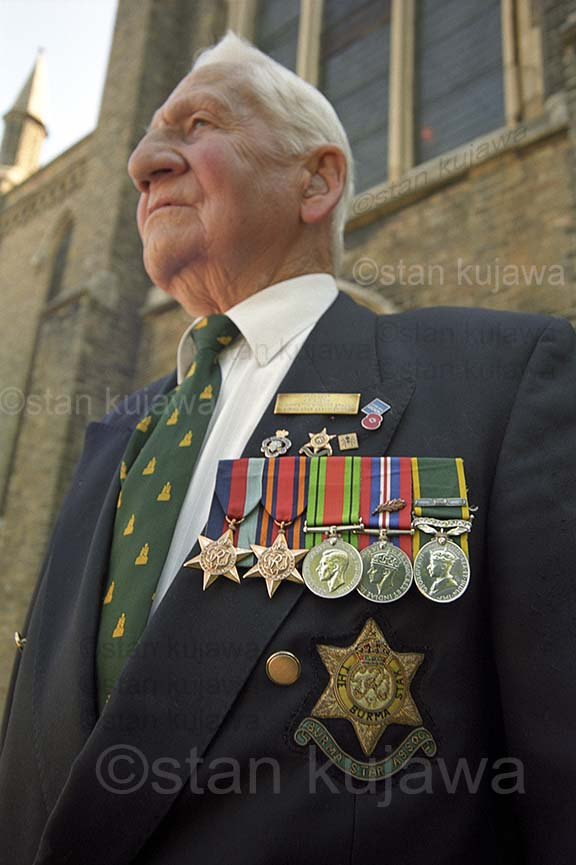 'Bunny' WW2 Burma veteran. Remembrane Service Trinity Church, Windsor. c. 2003 Photo ©Stan Kujawa stan.pix@virgin.net 07815 152006