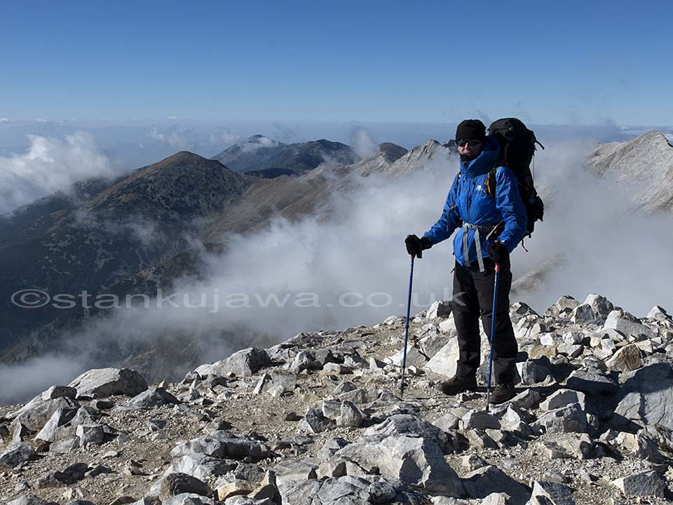 Me at the top of Mount Vihren, Pirin Mountain Range, Bulgaria. Oct 2013. ©Stan Kujawa. All rights reserved.